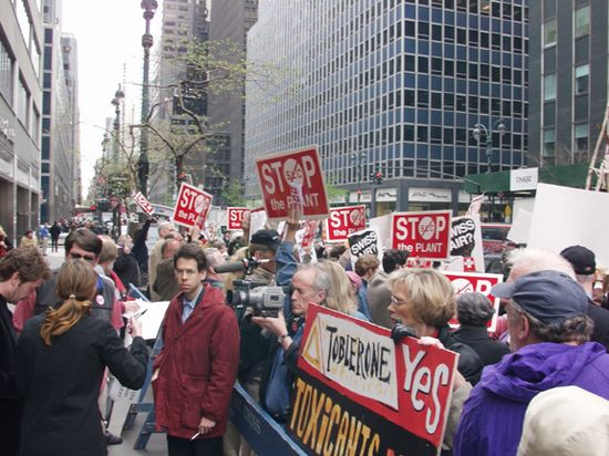 Protest outside Swiss consulate in NYC