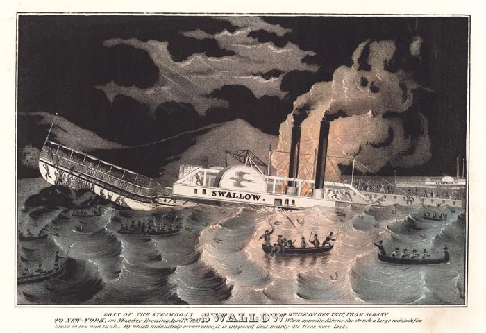 Demise of the steamship Swallow, 1845, between Hudson and Athens