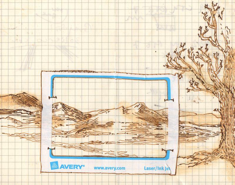 Landscape doodle (pen and ink), Hudson Valley, Moleskin notebook