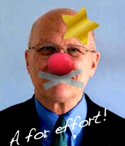 Don Moore adds gag to clown nose and gold star