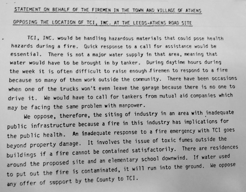 Athens firefighters oppose TCI move in mid-80s
